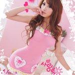 メイド風ピンクベビードール&Tバックセット