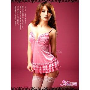 新作 ピンクサテンのセクシーランジェリー4点セット