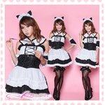 耳カチューシャ付アキバ系メイド服・コスプレ/5464(5点)【黒×白】