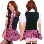 6071学生服/ネクタイ付スクール女子制服・コスプレ(4点入り)チェリーピンクチェック