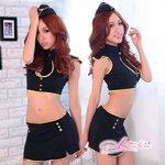 キャップ付ミニスカートのセクシー系の婦人警官さんコスチューム 黒