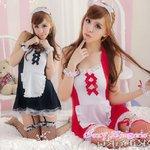2色★ガーターベルト付メイド服・コスプレ レッド
