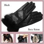 革手袋Boca Raton最高級ファー付レザー手袋レディスグローブカシミヤウール/ブラックの詳細ページへ