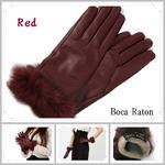 革手袋Boca Raton最高級ファー付レザー手袋レディスグローブカシミヤウール/ワインレッドの詳細ページへ