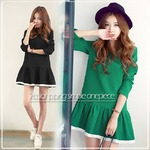 大きいサイズ☆2カラー裾パイピングシンプルワンピース/グリーン3Lの詳細ページへ