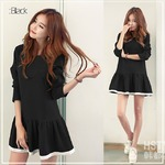 大きいサイズ☆2カラー裾パイピングシンプルワンピース/ブラック4Lの詳細ページへ