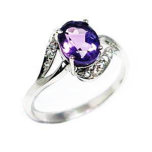アメジスト リング 2月誕生石 1.1ct 紫水晶 スターリングシルバー 925 Amethyst リングサイズ11号