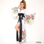超ゴージャス ビジュー シフォン ロング 着物 ドレス  セクシー キャバドレス 花魁 おいらん/ホワイトの詳細ページへ