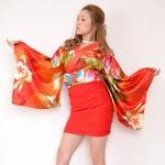 リボン付き サテン&ストレッチ ギャザー ミニ 花魁 着物 ドレス おいらん / レッド の詳細ページへ