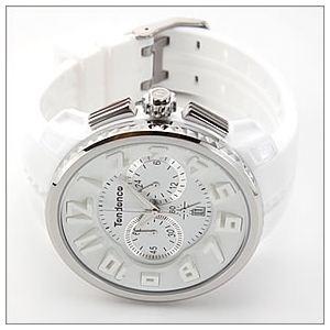 TENDENCE(テンデンス) メンズ 腕時計 Roundo Gulliver Chrono(ラウンド・ガリバー・クロノ)シリーズ 超おススメ・モテ系ホワイト クロノグラフ 02036013AA