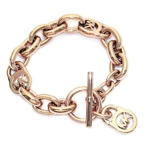 Michael Kors(マイケルコース) Rose Gold-Tone Chain-Link PadLock Bracelet チェーンリンク パドロック ブレスレット MKJ2752791