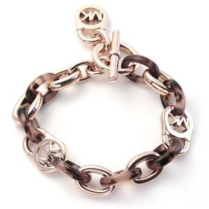 Michael Kors(マイケルコース) MKJ4321791 Rose Gold-Tone and Tortoise Acetate Chain-Link PadLock Bracelet タートス チェーンリンク パドロック ブレスレット