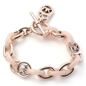 Michael Kors(マイケルコース) MKJ4328791 Rose Gold-Tone and Acetate Chain-Link PadLock Bracelet チェーンリンク パドロック ブレスレット