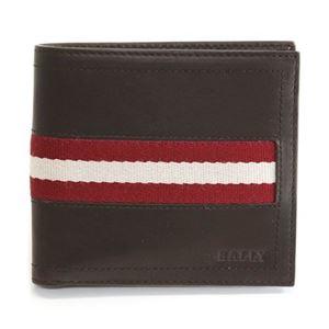 Bally(バリー) TYE 271 CHOCOLATE 小銭入れ付 二つ折り財布 型押しカーフ