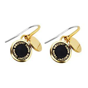 MARC JACOBS (マークジェイコブス) M0008541-062 Black/Oro Enamel Logo Disc Earrings ロゴ ディスク エナメル ピアス