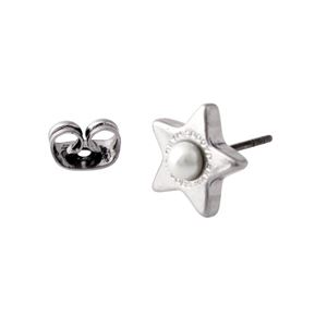 MARC JACOBS (マークジェイコブス) M0009237-118 Cream/Antique Silver ロゴ パール スター 星モチーフ スタッド ピアス Charms Flat Pearl Star Studs