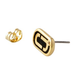 MARC JACOBS (マークジェイコブス) M0012395-065 Black/Gold 「J」ロゴモチーフ スタッド ピアス Icon Enamel Studs
