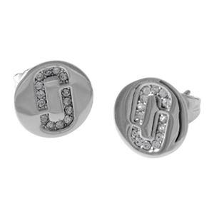 MARC JACOBS(マークジェイコブス ) M0011472-040 Silver クリスタル 「J」ロゴモチーフ ディスク スタッド ピアス Icon Crystal Studs