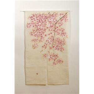 本麻100%使用 手描きのれん 『新古代桜 麻暖簾』 85×150cm