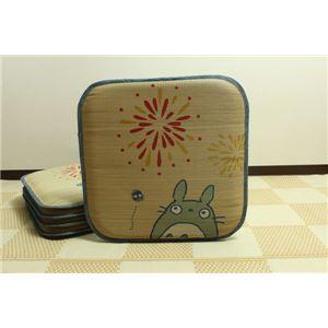 純国産/日本製 捺染アドラ い草座布団 『花火トトロ 5枚組』 約55×55cm×5P