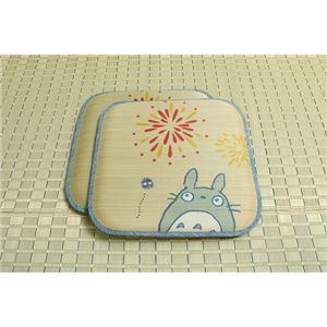 純国産/日本製 捺染アドラ い草座布団 『花火トトロ 2枚組』 約55×55cm×2P