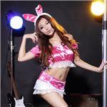 うさ耳オフショルダーレースフリルトップスミニスカート(DS464-PI/ds464-pi) ピンク