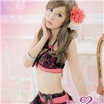 チュールスカートAoレースレイヤードブラセット【ランジェリー】 ブラック×ピンク