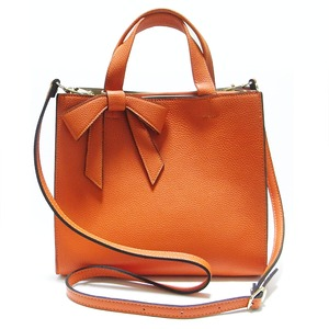 柔らか素材の仕切り付リボントートバッグ/オレンジ