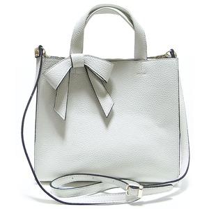 柔らか素材の仕切り付リボントートバッグ/オフホワイト