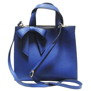 柔らか素材の仕切り付リボントートバッグ/ブルー