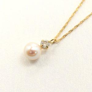18金 イエローゴールド アコヤ真珠 ダイヤモンド ペンダント