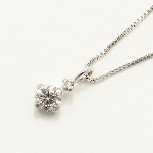 【鑑別書付】 18金ホワイトゴールド 天然 ダイヤモンド ツインデザイン ペンダント
