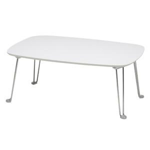 プライベートテーブル(ホワイト) 幅75cm×奥行50cm 幅75cm×奥行50cm  折りたたみローテーブル/リビングテーブル/机/モダン/スリム/シンプル/鏡面加工/完成品/NK-757