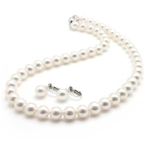 あこや真珠 ネックレス オーロラ花珠真珠セット パールネックレス ピアスセット 8.5−9.0mm珠 真珠科学研究所 鑑別書付き