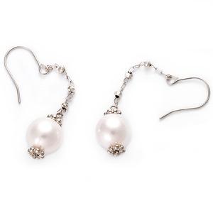 あこや真珠 パール ピアス K10 ホワイトゴールド ジプシーピアス 本真珠 真珠