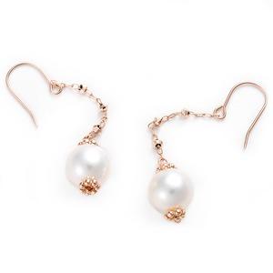 あこや真珠 パール ピアス K10 ピンクゴールド ジプシーピアス 本真珠 真珠