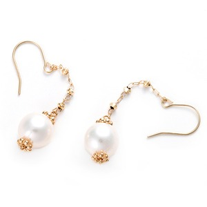 あこや真珠 パールピアス K10イエローゴールド ジプシーピアス 真珠 本真珠