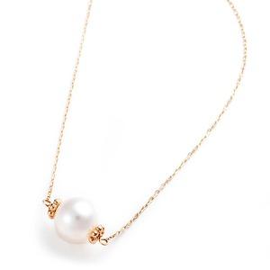 あこや真珠 パール ネックレス シンプル K10イエローゴールド 40cm 長さ調節可能(アジャスター付き) 真珠 本真珠