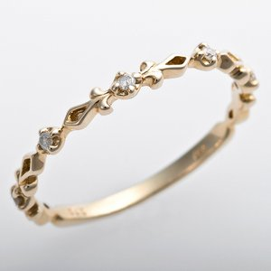 K10イエローゴールド 天然ダイヤリング 指輪 ピンキーリング ダイヤモンドリング 0.03ct 2号 アンティーク調 プリンセス