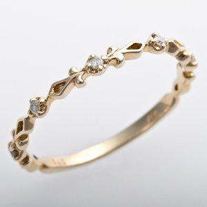 K10イエローゴールド 天然ダイヤリング 指輪 ピンキーリング ダイヤモンドリング 0.03ct 3号 アンティーク調 プリンセス