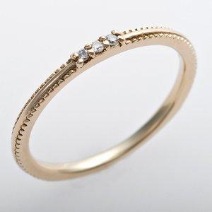 K10イエローゴールド 天然ダイヤリング 指輪 ピンキーリング ダイヤモンドリング 0.02ct 5号 アンティーク調 プリンセス