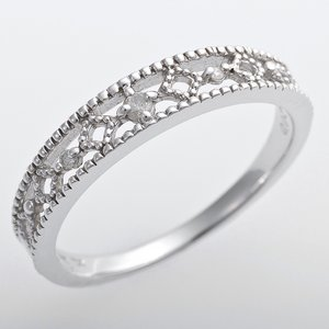 K10ホワイトゴールド 天然ダイヤリング 指輪 ピンキーリング ダイヤモンドリング 0.02ct 3.5号 アンティーク調 プリンセス