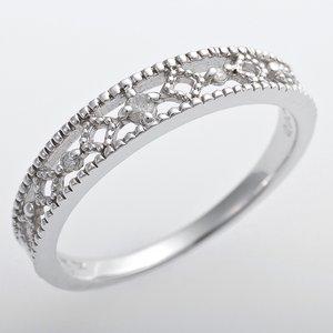 K10ホワイトゴールド 天然ダイヤリング 指輪 ピンキーリング ダイヤモンドリング 0.02ct 4.5号 アンティーク調 プリンセス