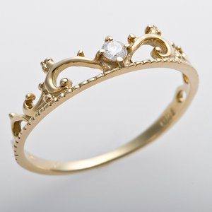 K10イエローゴールド 天然ダイヤリング 指輪 ピンキーリング ダイヤモンドリング 0.05ct 3号 アンティーク調 プリンセス ティアラモチーフ