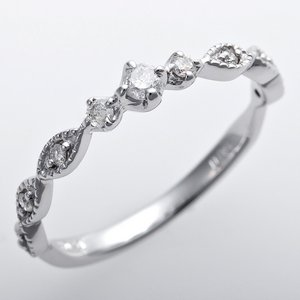K10ホワイトゴールド 天然ダイヤリング 指輪 ピンキーリング ダイヤモンドリング 0.09ct 4.5号 アンティーク調 プリンセス