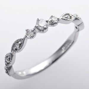 K10ホワイトゴールド 天然ダイヤリング 指輪 ピンキーリング ダイヤモンドリング 0.09ct 5号 アンティーク調 プリンセス
