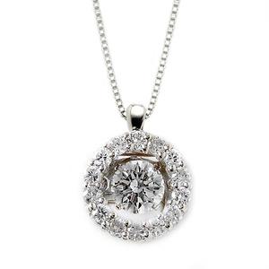 ダイヤモンド ネックレス プラチナ Pt900 0.5ct 揺れる ダイヤ ダンシングストーン ダイヤネックレス サークル ペンダント