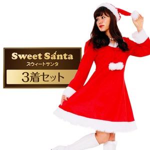 Peach×Peach レディース スイートサンタクロース【クリスマスコスプレ 衣装 まとめ買い3着セット】