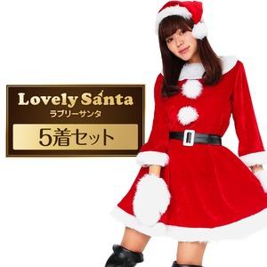 Peach×Peach レディース ラブリーサンタクロース 【クリスマスコスプレ 衣装 まとめ買い5着セット】