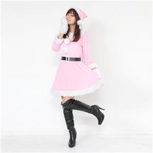 サンタ コスプレ ピンク レディース <帽子&ベルト&手袋セット> 【Peach×Peach ラブリーサンタクロース ピンク ワンピース Mサイズ】 クリスマスコスプレ サンタクロース衣装